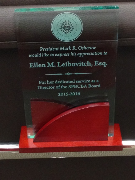 Ellen SPBCBA Board Award